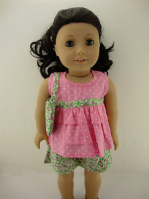 4pc Pink and Green Summer Outfit with Pink Polka Dot Shirt and Floral Shorts Com