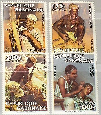 GABON GABUN 1992 1107-10 731-34 Occupations Handicrafts Handwerk Jobs Berufe MNH