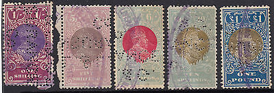 Stamps 1901 Edward 7th NSW group of 5 with L & L & G INSURANCE Co perfin, scarce