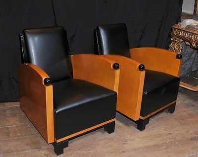 Pair Art Deco Club Chairs Arm Chairs Biedermeier Sofa