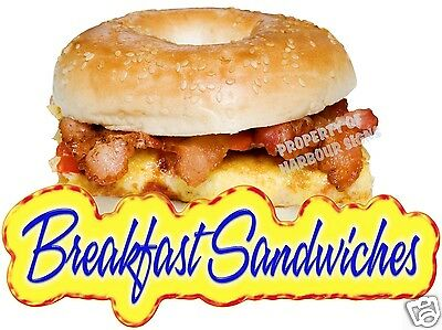"""Breakfast Sandwiches Bagel Egg Bacon Concession Restaurant Food Truck Decal 14"""""""