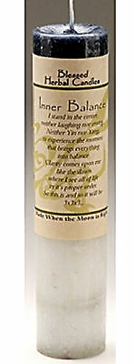 """7"""" Coventry Creations Black White INNER BALANCE BLESSED HERBAL CANDLE Wicca"""
