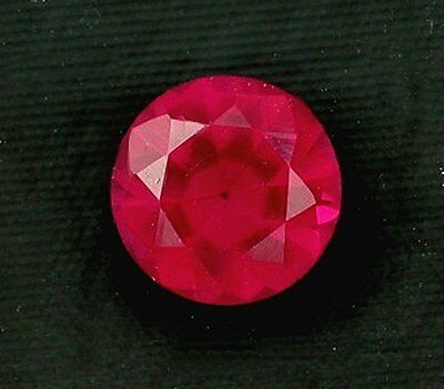 One 8mm Round Brilliant Synthetic Ruby Corundum Gem Stone Gemstone ebs5335