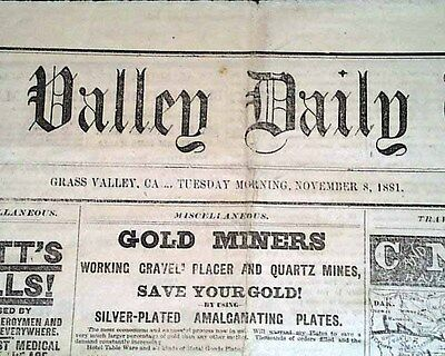 Rare 1881 GRASS VALLEY CA Nevada County Old West Newspaper w/ Advertisements