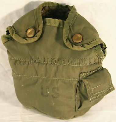 USGI Military OD Olive Drab 1 QT QUART CANTEEN COVER Pouch with Alice Clips FAIR