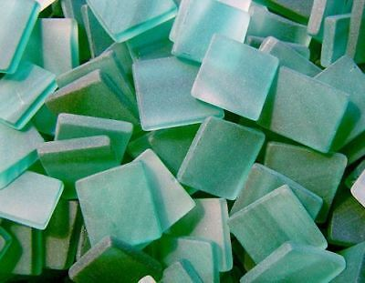 """100 1/2"""" Green Frost Tumbled Stained Glass Mosaic Tiles, Tile"""