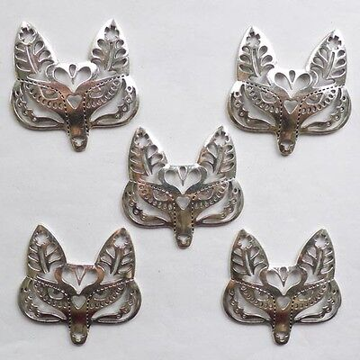 QHG66 Beautiful Carved Tibet silver fox head pendant bead 10pcs