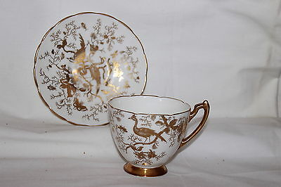 VINTAGE HTF CHINA COALPORT CAIRO GOLD BIRDS ON WHITE EMBOSSED CUP AND SAUCER