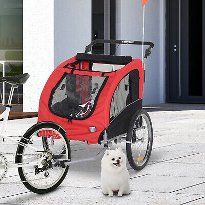 Pet Trailer Dog Cat Bike Bicycle Trailer Carrier Supplies w/ Drawbar Hitch Brake