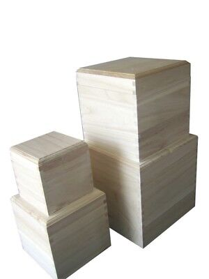 CUBE Square plain wooden box with removable lid - choice of sizes (WB20-23)
