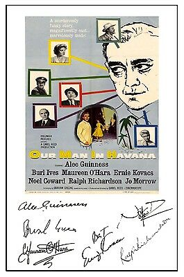 Alec Guinness - Our Man In Havana - Cast Signed (Pre Printed) A4 Poster