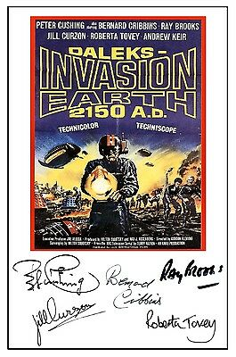 Daleks Invasion Earth 2150 Ad - Cast Signed (Pre Printed) A4 Poster