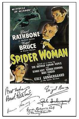 Sherlock Holmes & Spider Woman (Rathbone) - Cast Signed (Pre Printed) A4 Poster