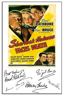 Sherlock Holmes Faces Death  (Rathbone) - Cast Signed (Pre Printed) A4 Poster