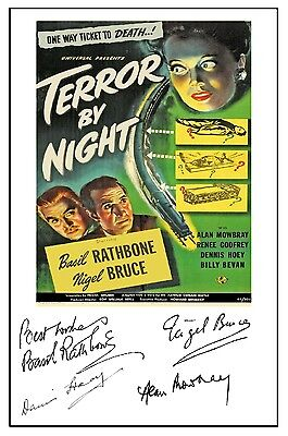 Sherlock Holmes Terror By Night (Rathbone) - Cast Signed (Pre Printed) A4 Poster