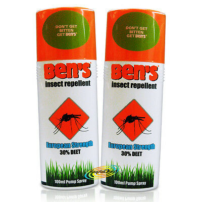 2x Ben's Insect Repellent European Protection Strength 30% Deet 100ml Pump Spray