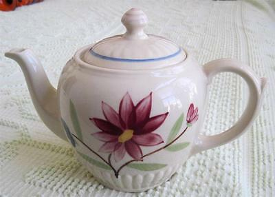 Shawnee Pottery Vertical Ribbed Red Flower Teapot Marked USA