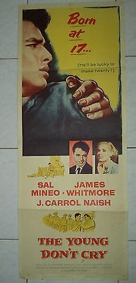 THE YOUNG DON'T CRY 1957 RARE VINTAGE US INSERT POSTER 36x14 SAL MINEO