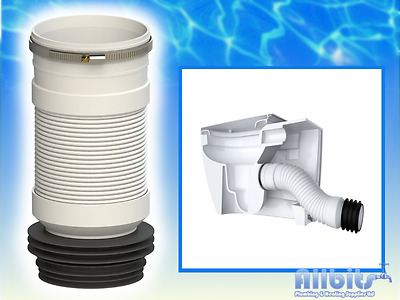 """Wc Flexible Toilet Waste Back To Wall Btw Pan Connector Soil 4"""" Hose Clip  Viva"""
