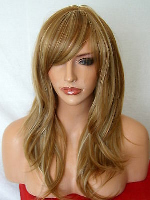 Wig Wavy Natural Full Women Fashion Synthetic blonde highlight Lady Wig K23