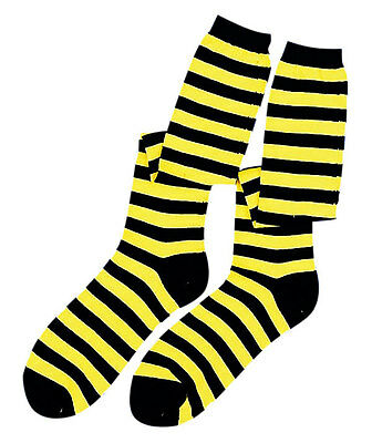 Bumble Bee Socks Insect Black Yellow Striped Halloween Adult Costume Accessory