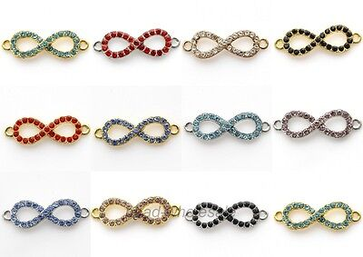 Lots 10 pcs Crystal Rhinestone Paved Infinity Symbol Charm Connectors Findings