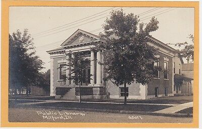 Childs Real Photo Postcard RPPC - Public Library Milford Illinois