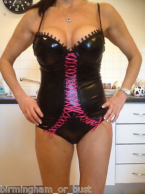 New Ann Summers Shari Wet Look PVC Black & Red Body Sizes 8 10 12 14 16 RRP £30