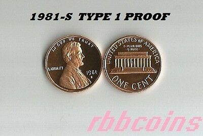 1981-S Type 1 Proof Lincoln Memorial Cent Penny - All Proofs On Sale