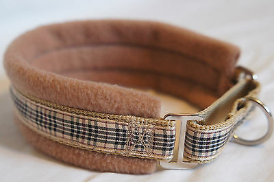Fleece Lined Martingale Dog Collar Blackberry Tartan, New Various Sizes