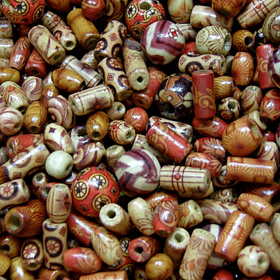 100pcs Wooden beads ~mixed patterns and mixed shapes Round Tube  Rice beads Mix