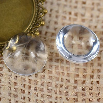 15pcs Round Clear Transparent Glass Dome Seals Hemispherical FlatBack Cover 18mm