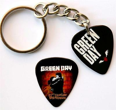 Green Day Double Sided Guitar Pick Keyring plus Matching Plectrum