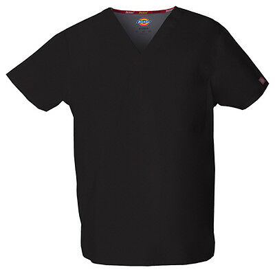 Black Dickies EDS Signature Unisex V Neck Scrub Top 83706 BLWZ