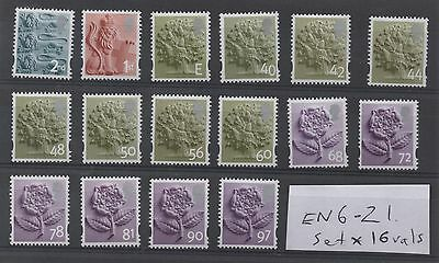 England. EN6-EN21. Set x 16 Regional Machins. Superb unmounted mint.