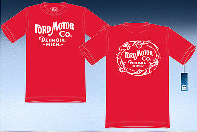 """Ford Motor Company Detriot Mich Adult T-Shirt Red Cotton 2-Sided Logo  """"BLOWOUT"""""""