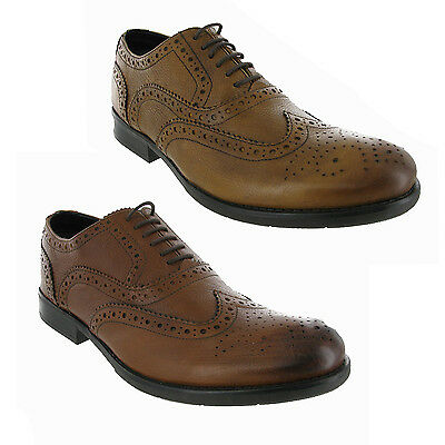 Leather Brogues Brown Formal Casual Work Dress Smart Office Mens Shoes UK 6-12