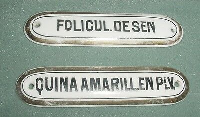 Antq Set Lot Germany Porcelain Apothecary Drawer Label Sign Plaque Sen & Quina
