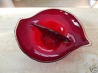 Retro Ruby Red Viking Art Glass Two Part Divided Bowl