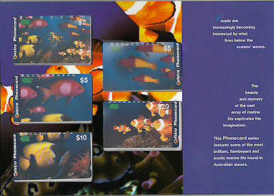 Phonecards 1996 Australia Marine Series magnetic set 5 in limited edition pack