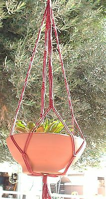 Macrame Plant Hanger 36 in Vintage Style Cranberry for a Wide Pot