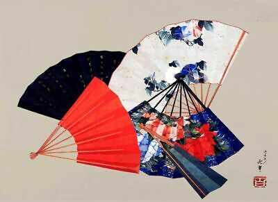 "Vintage Japanese Art ~ HOKUSAI `FIVE FANS'  CANVAS ART PRINT Poster 8"" X 12"""