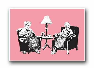 "BANKSY Grannies Knitting QUALITY CANVAS ART PRINT Graffiti Art poster 16""X 12"""
