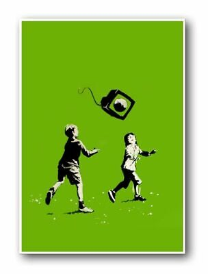 "BANKSY Kids at Play CANVAS ART PRINT Graffiti Art poster 16""X 12"""