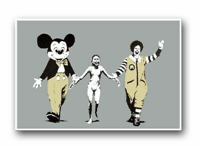 "BANKSY Ronald & Mickey Mouse CANVAS ART PRINT 16""X 12"" Graffiti Art poster"