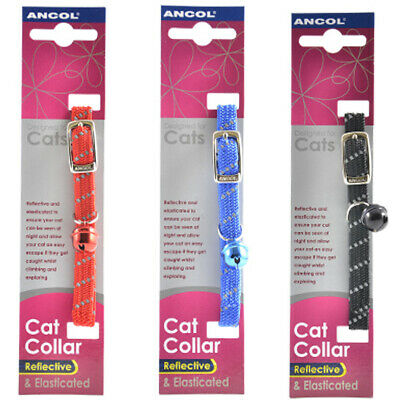 Ancol Softweave Reflective Elastic Cat Collar Kitten Safety Release Clip