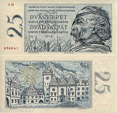 CZECHOSLOVAKIA 25 Korun Banknote World Money Currency Europe Bill p87 1958 Note