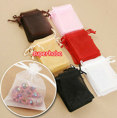12/ 25/ 50/100pcs Organza Bags Jewellery Gift Pouch Wedding Favour 10x12cm