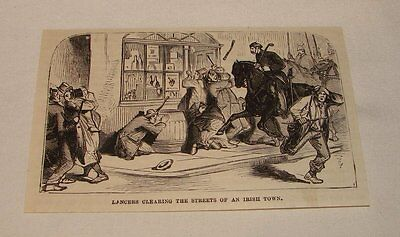 1880 magazine engraving ~ LANCERS CLEARING STREETS, Ireland