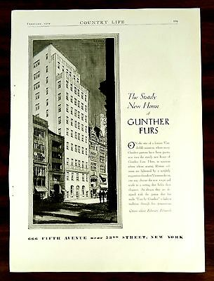 666 FIFTH AVENUE NEW YORK CITY, THE NEW HOME OF GUNTHER FURS ad 1929 Advertising